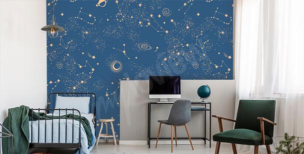 Galaxy teenager's room mural