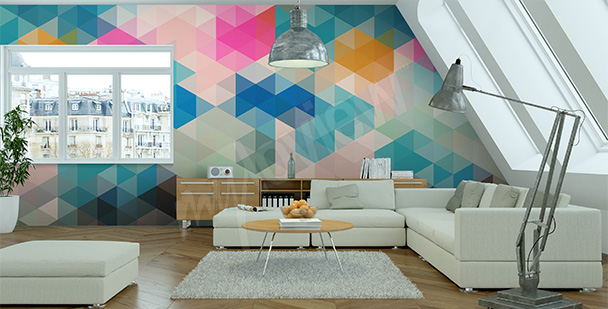 Geometric abstraction mural