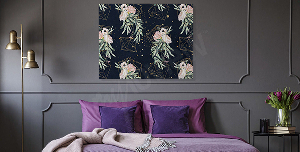 Geometric canvas print for the bedroom
