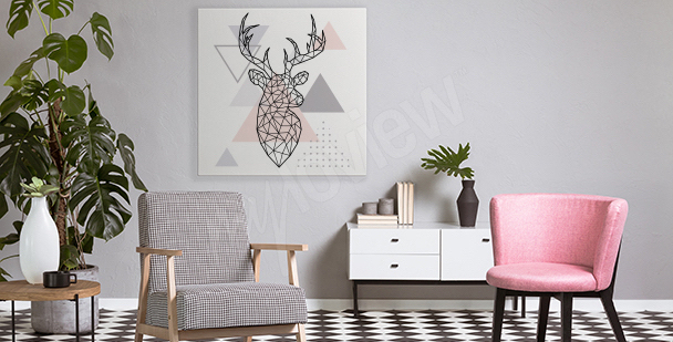 Geometric deer canvas print