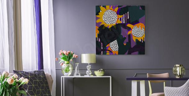 Geometric sunflowers canvas print
