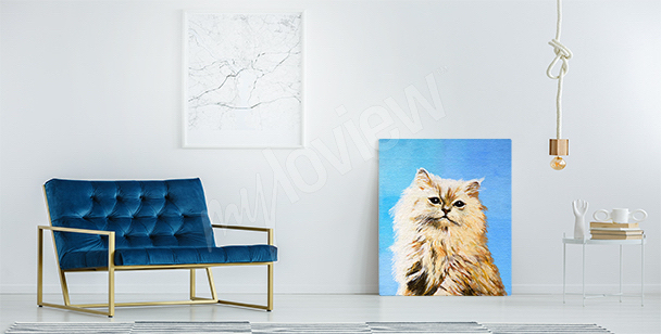 Gray cat canvas print