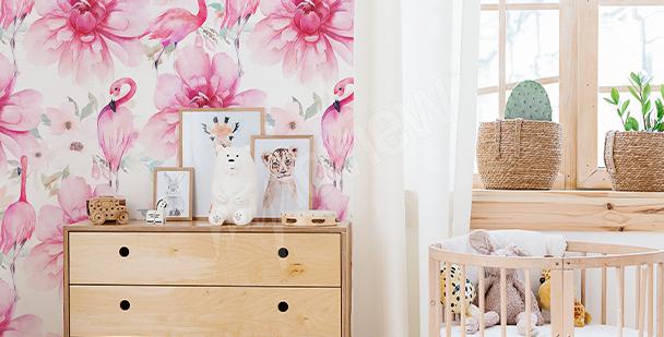 Girlish flamingo mural