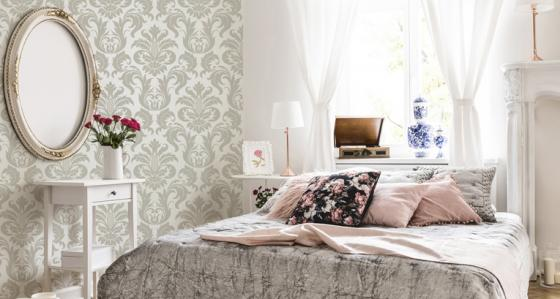 Glamour-style bedroom with the use of wall murals