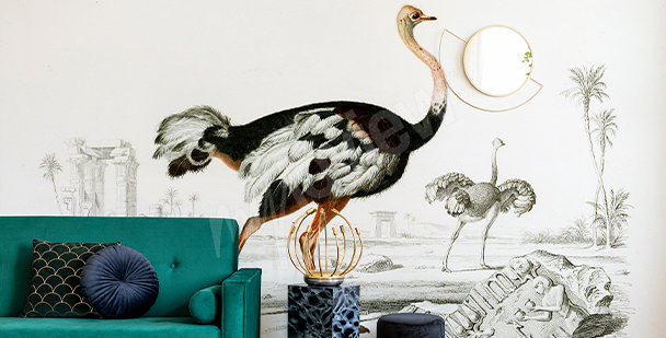 Glamour-style birds mural