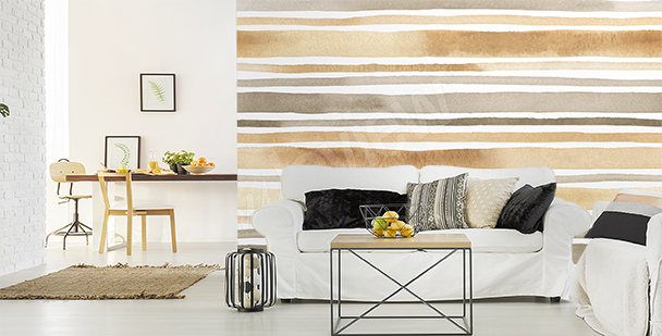 Gold and brown stripes mural