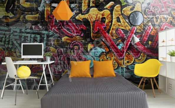Graffiti mural wallpaper for teenagers