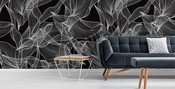 Graphic leaves mural