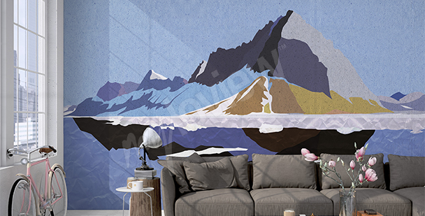 Graphic mountain wall mural