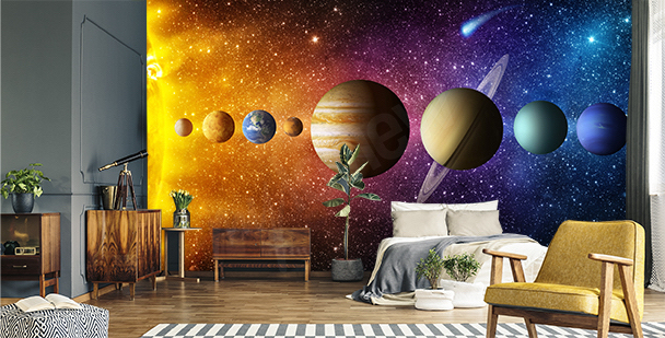 Graphic mural with planets