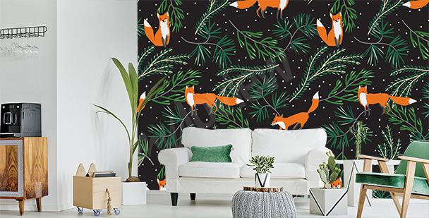Green fox mural