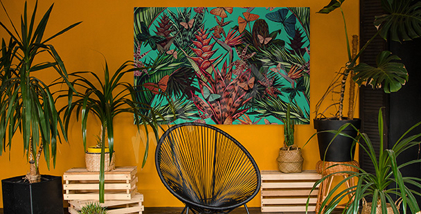 Green jungle canvas print