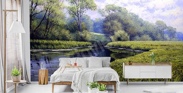 Green landscape mural