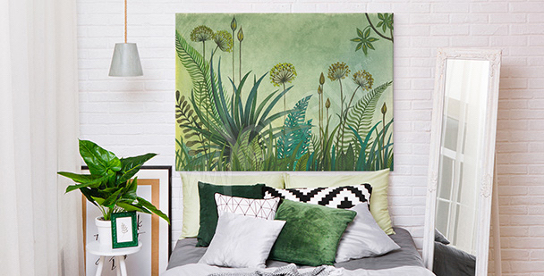 Greenery and dandelion canvas print