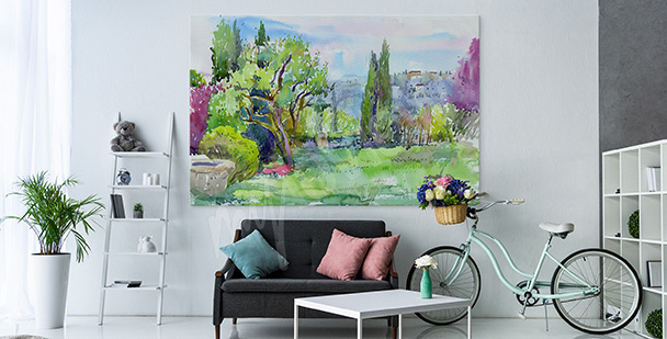 Greenery in an Italian garden canvas print