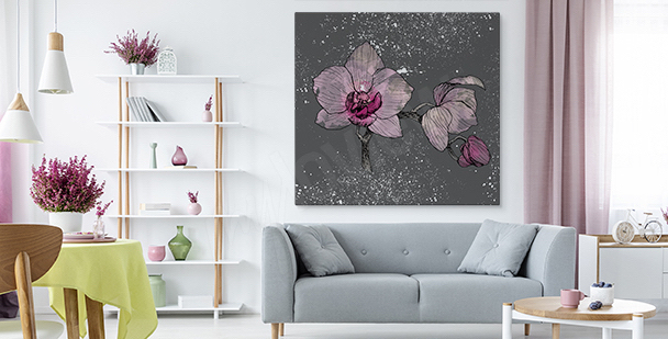 Grey background orchid canvas print