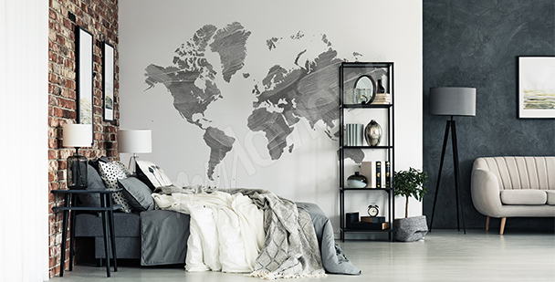 Grey map of the world sticker