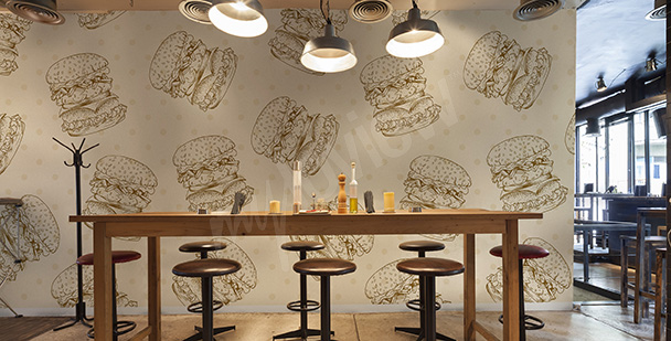 Hamburger mural for a restaurant