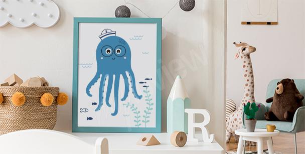 Happy octopus poster