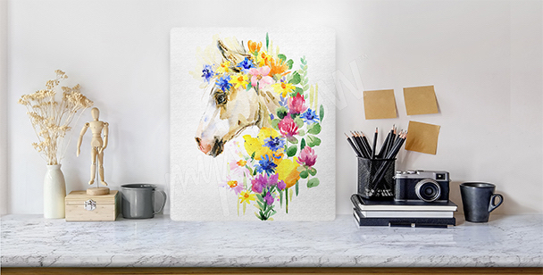 Horse head in flowers canvas print