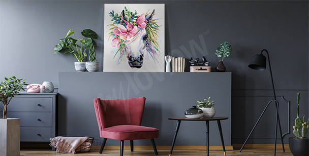 Horse with flower crown canvas print
