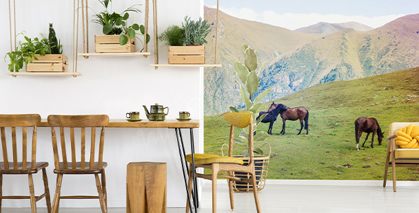 Horses in the mountains mural