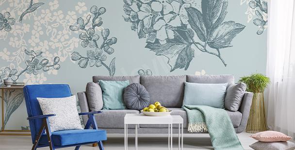 Hydrangea pattern mural