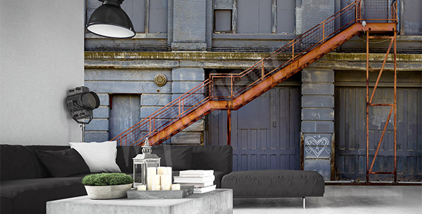 Industrial stairs mural