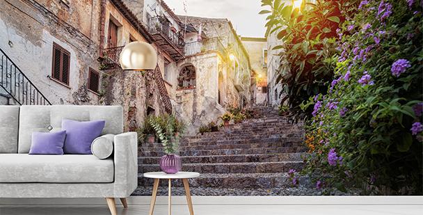 Italian town alleyway mural