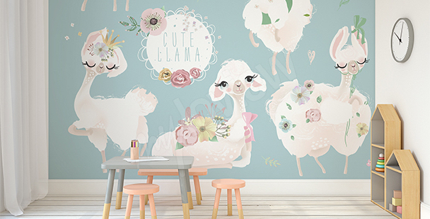 Lamas mural for a little girl