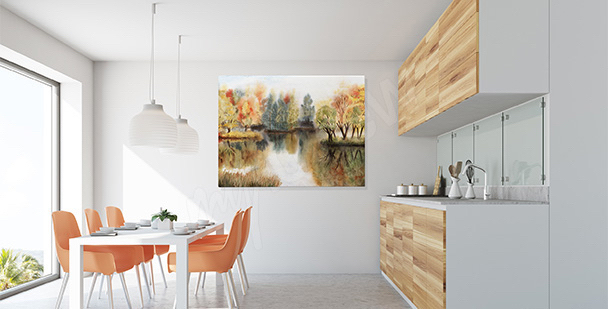 Landscape canvas print for the kitchen
