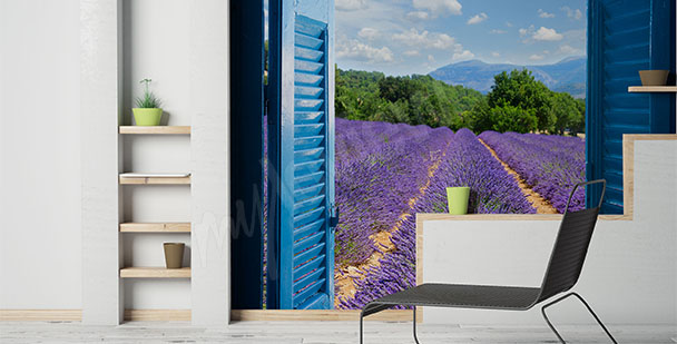 Lavender field view wall mural