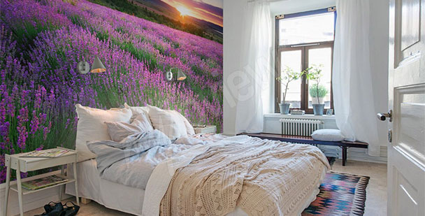 Lavender sunset wall mural