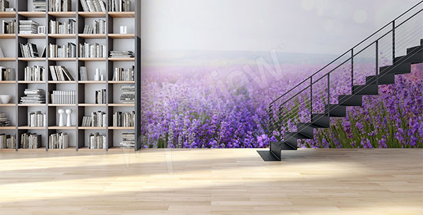 Lavender wall mural for halls