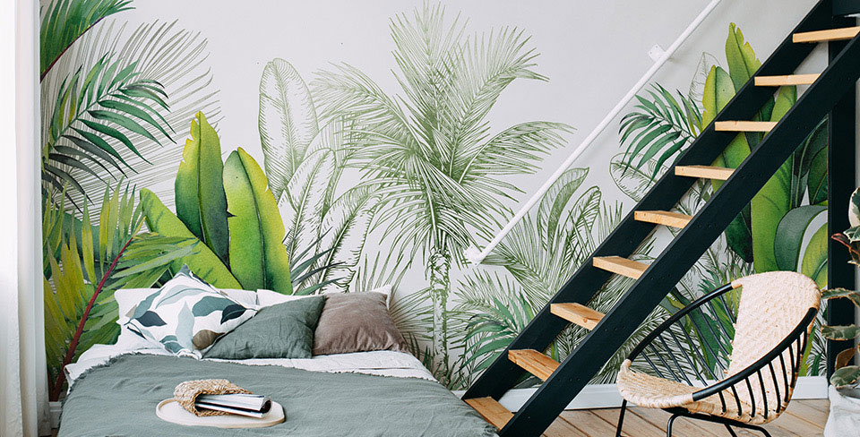Leaves and palms wall mural