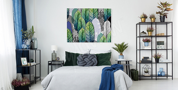 Leaves canvas print for the bedroom