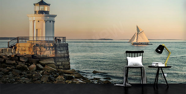 Lighthouse and a ship mural