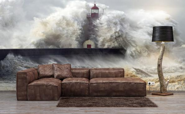 Lighthouse and stormy waves mural