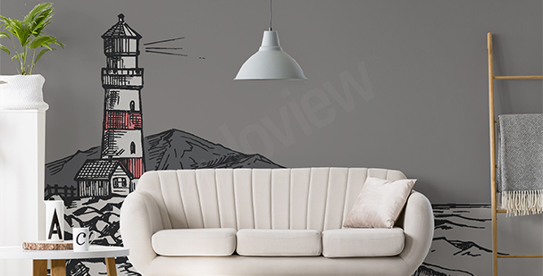 Lighthouse drawing mural
