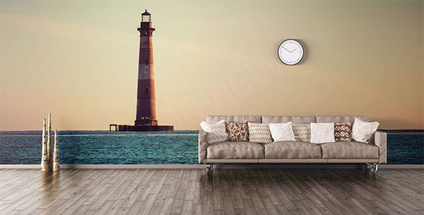 Lighthouse mural for the living room