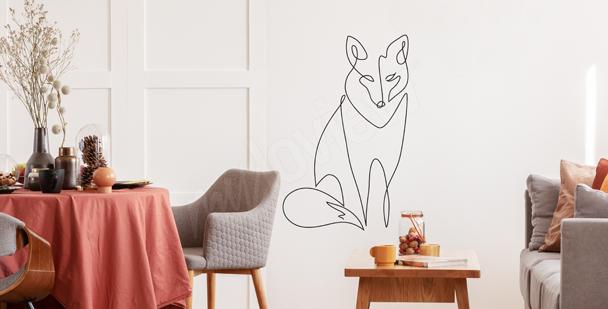 Line art fox sticker