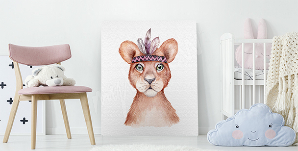 Lion cub canvas print for a child's room