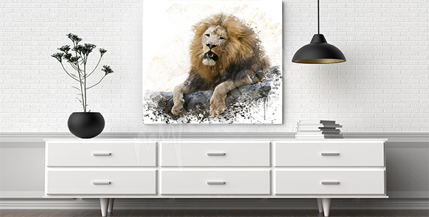 Lion on a rock canvas print