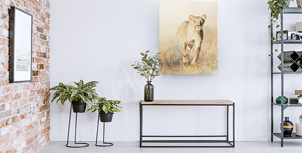 Lioness in the savannah canvas print
