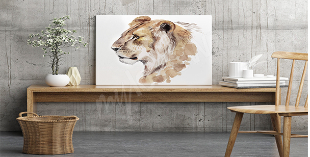 Lioness watercolor canvas print