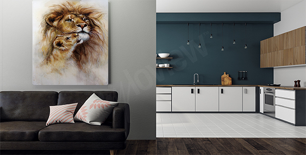 Lions in natural habitat canvas print