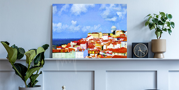 Lisbon canvas print in painting