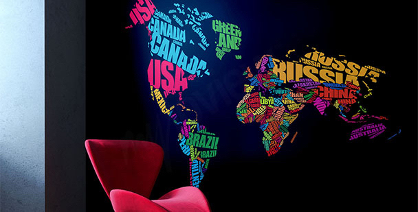 Map and continents mural