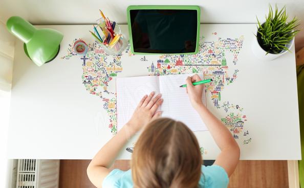 Map desk sticker
