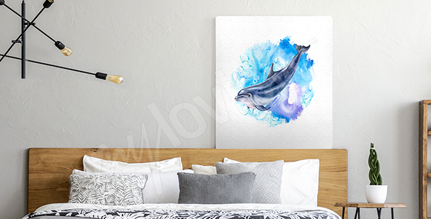 Marine watercolor canvas print